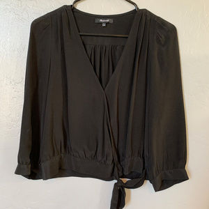 Madwell Silk 3/4 Sleeve Tie Front Blouse
